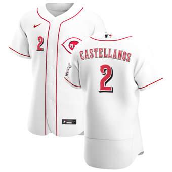 Men's Cincinnati Reds #2 Nick Castellanos White Home 2020 Authentic Player Baseball Jersey