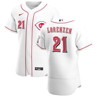 Men's Cincinnati Reds #21 Michael Lorenzen White Home 2020 Authentic Player Baseball Jersey