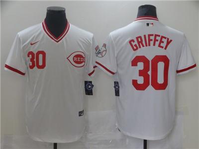 Men's Cincinnati Reds #30 Ken Griffey White Cool Base Stitched Baseball Jersey