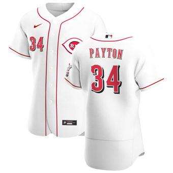 Men's Cincinnati Reds #34 Mark Payton White Home 2020 Authentic Player Baseball Jersey