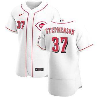 Men's Cincinnati Reds #37 Tyler Stephenson White Home 2020 Authentic Player Baseball Jersey