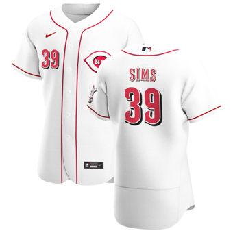 Men's Cincinnati Reds #39 Lucas Sims White Home 2020 Authentic Player Baseball Jersey