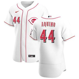 Men's Cincinnati Reds #44 Aristides Aquino White Home 2020 Authentic Player Baseball Jersey