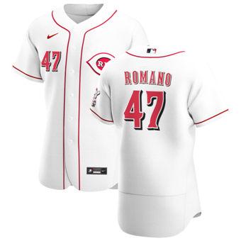 Men's Cincinnati Reds #47 Sal Romano White Home 2020 Authentic Player Baseball Jersey
