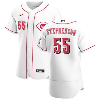Men's Cincinnati Reds #55 Robert Stephenson White Home 2020 Authentic Player Baseball Jersey