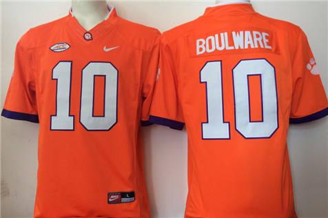 Men's Clemson Tigers Orange #10 BOULWARE Stitched College Football Jersey