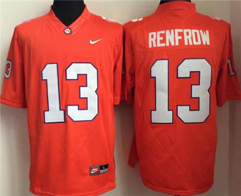 Men's Clemson Tigers Orange #13 Hunter Renfrow Stitched College Football Jersey