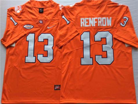Men's Clemson Tigers Orange #13 RENFROW Stitched College Football Jersey
