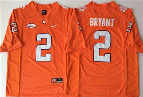 Men's Clemson Tigers Orange #2 BRYANT Stitched College Football Jersey