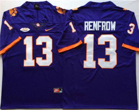 Men's Clemson Tigers Purple #13 RENFROW Stitched College Football Jersey