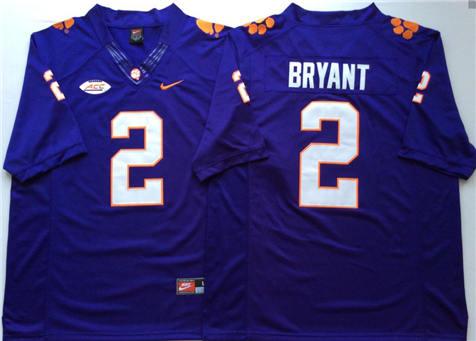 Men's Clemson Tigers Purple #2 BRYANT Stitched College Football Jersey