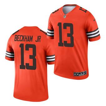 Men's Cleveland Browns #13 Odell Beckham Jr. Orange 2021 Inverted Legend Jersey