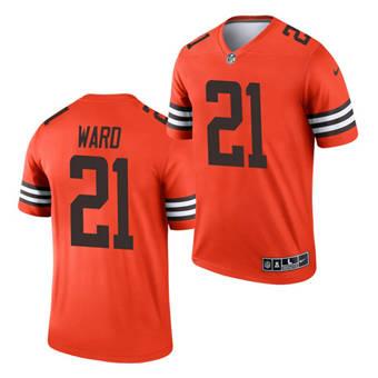 Men's Cleveland Browns #21 Denzel Ward Orange 2021 Inverted Legend Jersey