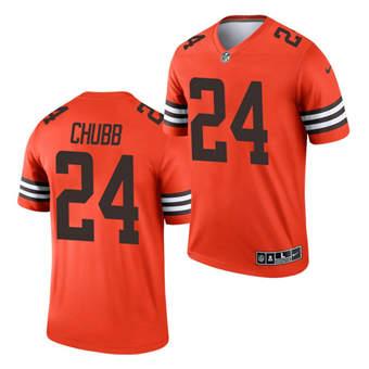 Men's Cleveland Browns #24 Nick Chubb Orange 2021 Inverted Legend Jersey