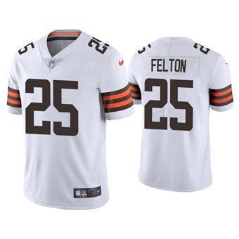 Men's Cleveland Browns #25 Demetric Felton 2021 White Vapor Untouchable Limited Stitched Jersey