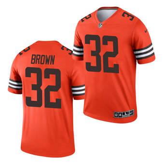 Men's Cleveland Browns #32 Jim Brown Orange 2021 Inverted Legend Jersey