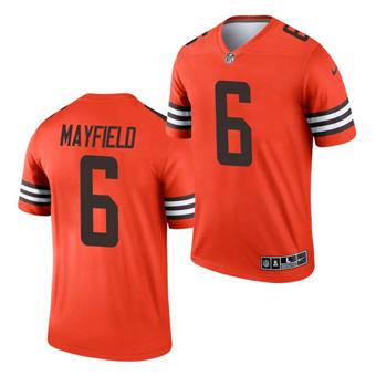 Men's Cleveland Browns #6 Baker Mayfield Orange 2021 Inverted Legend Jersey