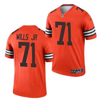 Men's Cleveland Browns #71 Jedrick Wills Jr. Orange 2021 Inverted Legend Jersey
