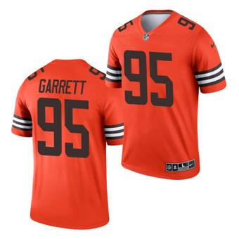 Men's Cleveland Browns #95 Myles Garrett Orange 2021 Inverted Legend Jersey