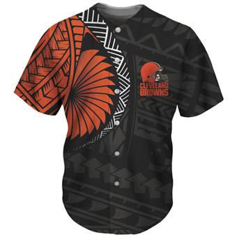 Men's Cleveland Browns Black Orange Baseball Jersey