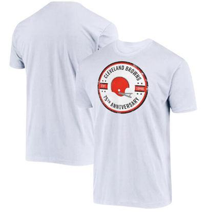 Men's Cleveland Browns White 2021 75th Anniversary Circle Logo Football T-Shirt