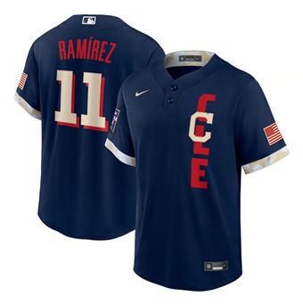 Men's Cleveland Indians #11 José Ramírez 2021 Navy All-Star Cool Base Stitched Baseball Jersey
