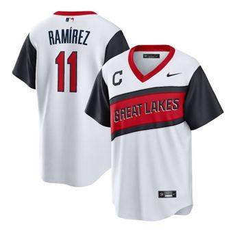 Men's Cleveland Indians #11 José Ramírez 2021 White Little League Classic Home Cool Base Stitched Baseball Jersey