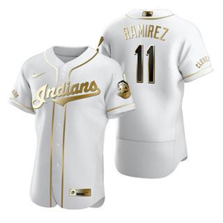 Men's Cleveland Indians #11 Jose Ramirez White 2020 Authentic Golden Edition Baseball Jersey