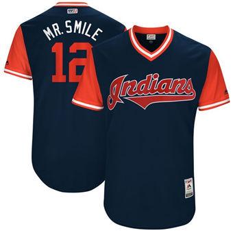 Men's Cleveland Indians #12 Francisco Lindor Mr. Smile Navy Red Cool Base Stitched Baseball Jersey