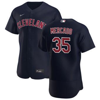 Men's Cleveland Indians #35 Oscar Mercado Navy Alternate 2020 Authentic Player Baseball Jersey