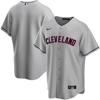 Men's Cleveland Indians Blank Grey Cool Base Stitched Baseball Jersey