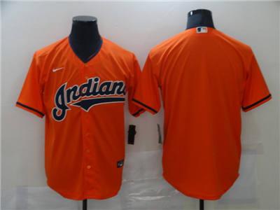 Men's Cleveland Indians Blank Orange Cool Base Stitched Baseball Jersey
