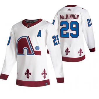Men's Colorado Avalanche #29 Nathan MacKinnon White 2020-21 Reverse Retro Alternate Hockey Jersey