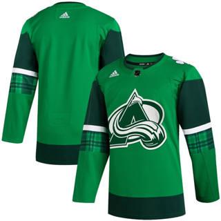 Men's Colorado Avalanche Blank 2020 St. Patrick's Day Stitched Hockey Jersey Green