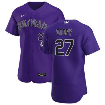 Men's Colorado Rockies #27 Trevor Story Purple Alternate 2020 Authentic Player Baseball Jersey