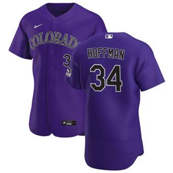 Men's Colorado Rockies #34 Jeff Hoffman Purple Alternate 2020 Authentic Player Baseball Jersey