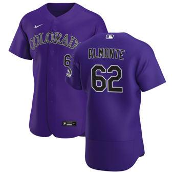 Men's Colorado Rockies #62 Yency Almonte Purple Alternate 2020 Authentic Player Baseball Jersey