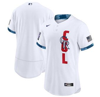 Men's Colorado Rockies Blank 2021 White All-Star Flex Base Stitched Baseball Jersey