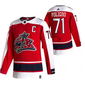 Men's Columbus Blue Jackets #71 Nick Foligno Red 2020-21 Reverse Retro Alternate Hockey Jersey