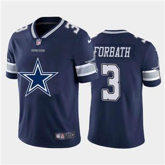 Men's Cowboys #3 Kai Forbath Navy Football Team Big Logo Fashion Vapor Limited Jersey