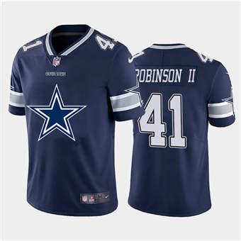 Men's Cowboys #41 Reggie Robinson II Navy Football Team Big Logo Fashion Vapor Limited Jersey