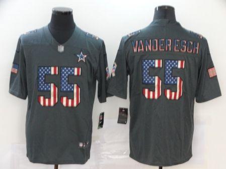Men's Cowboys #55 Leighton Vander Esch 2019 Salute To Service USA Flag Fashion Limited Jersey