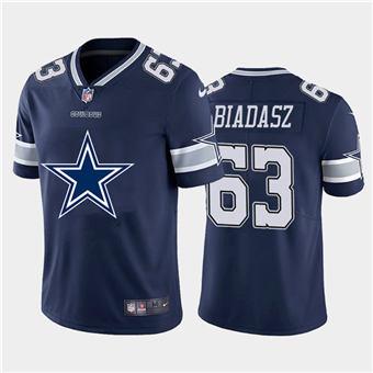 Men's Cowboys #63 Tyler Biadasz Navy Football Team Big Logo Fashion Vapor Limited Jersey