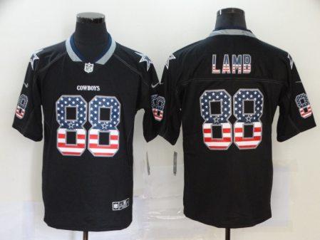 Men's Cowboys #88 CeeDee Lamb Black USA Flag Football Limited Rush Jersey