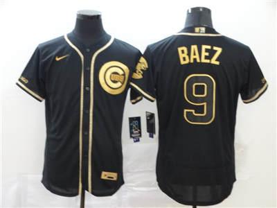 Men's Cubs #9 Javier Baez Black Gold 2020 Baseball Flexbase Jersey