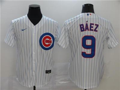 Men's Cubs #9 Javier Baez White 2020 Baseball Cool Base Jersey