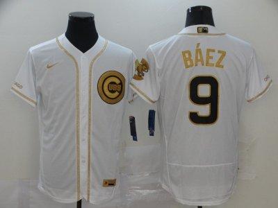 Men's Cubs #9 Javier Baez White Gold 2020 Baseball Flexbase Jersey
