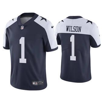 Men's Dallas Cowboys #1 Cedrick Wilson Navy Vapor Limited Stitched Throwback Football Jersey