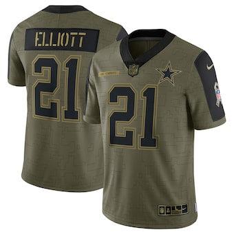 Men's Dallas Cowboys Ezekiel Elliott Football Olive 2021 Salute To Service Limited Player Jersey