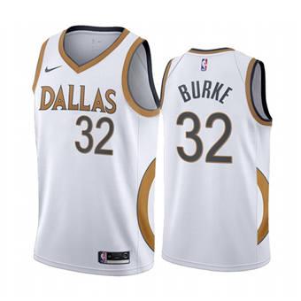 Men's Dallas Mavericks #32 Trey Burke White City Edition New Uniform 2020-21 Stitched Basketball Jersey